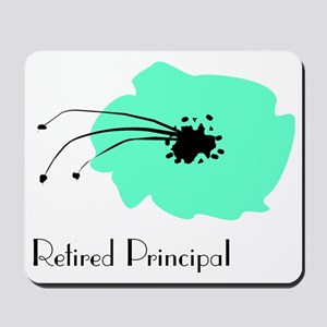 Retired Principal Blue Flower Mousepad