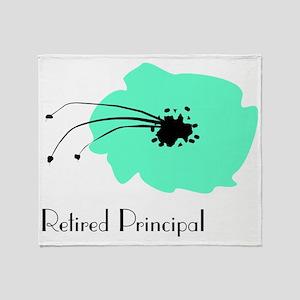 Retired Principal Blue Flower Throw Blanket