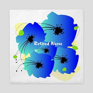 Retired Nurse Blue Flowers Queen Duvet