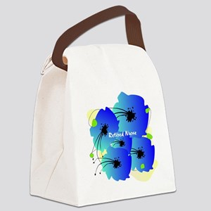 Retired Nurse Blue Flowers Canvas Lunch Bag