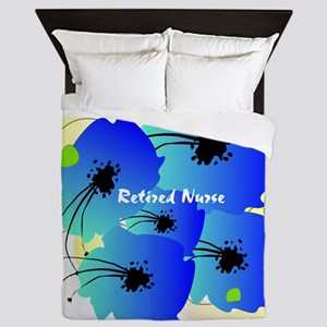 Retired Nurse Blue Flowers Queen Duvet