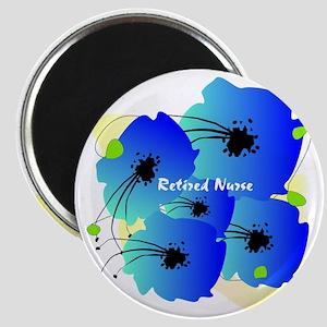 Retired Nurse Blue Flowers Magnet