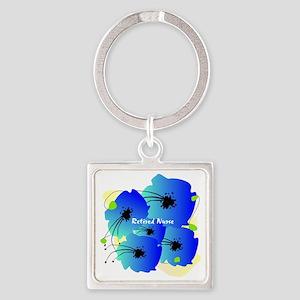 Retired Nurse Blue Flowers Square Keychain
