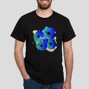 Retired Nurse Blue Flowers Dark T-Shirt