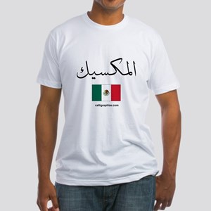 Mexico Flag Arabic Fitted T-Shirt