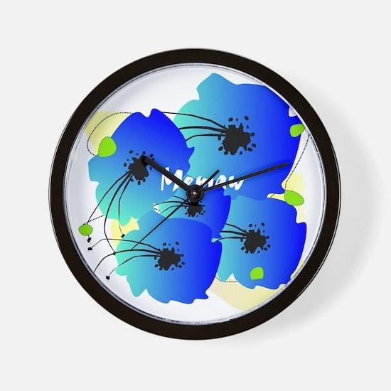 memaw blue flowers Wall Clock
