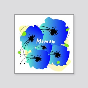 "memaw blue flowers Square Sticker 3"" x 3"""