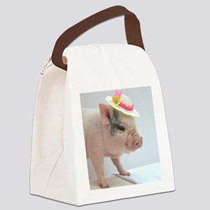 Micro pig with Summer Hat Canvas Lunch Bag