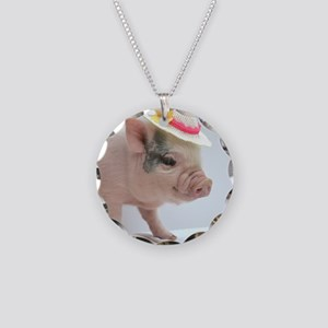Micro pig with Summer Hat Necklace Circle Charm