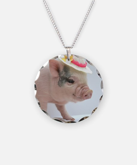 Micro pig with Summer Hat Necklace