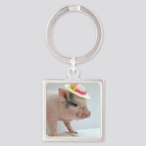 Micro pig with Summer Hat Square Keychain
