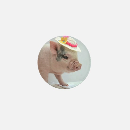 Micro pig with Summer Hat Mini Button