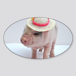 Micro pig wearing Summer hat Sticker (Oval)