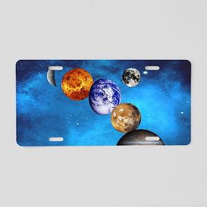 Solar System Aluminum License Plate