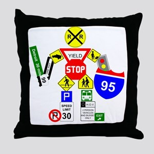 Street Sign Warrior Throw Pillow