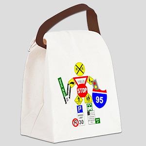 Street Sign Warrior Canvas Lunch Bag