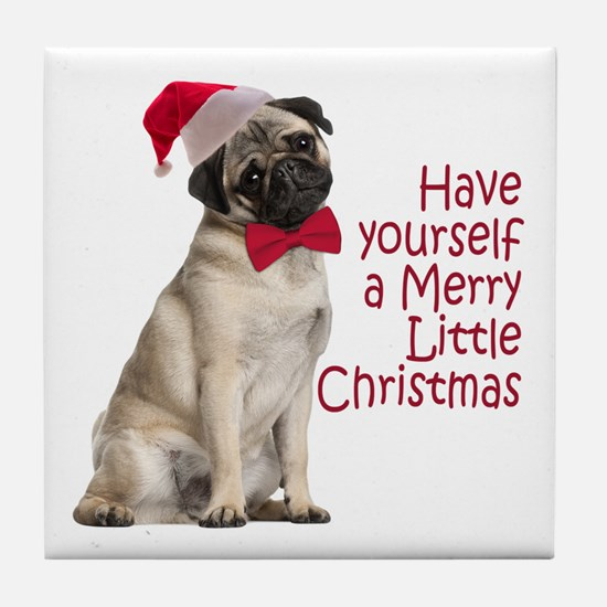 Santa Pug Tile Coaster