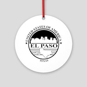 El Paso logo white and black Round Ornament