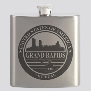Grand rapids logo black and white Flask