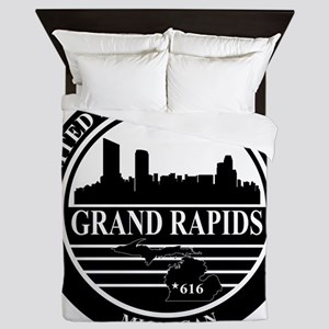 Grand rapids logo black and white Queen Duvet