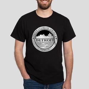 Detroit logo white and black Dark T-Shirt