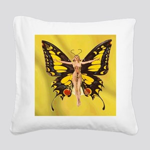 Butterfly Nouveau Square Canvas Pillow