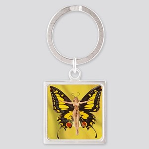 Butterfly Nouveau Square Keychain