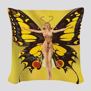 Butterfly Nouveau Woven Throw Pillow