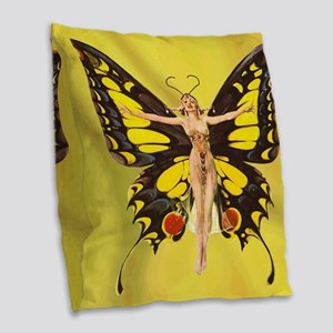 Butterfly Nouveau Burlap Throw Pillow