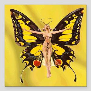 """Butterfly Nouveau Square Car Magnet 3"""" x 3"""""""