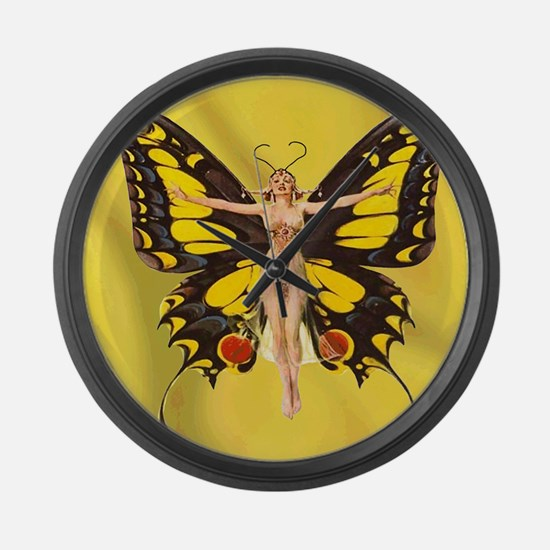 Butterfly Nouveau Large Wall Clock