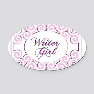 Swirly Writer Girl in pink  white Oval Car Magnet