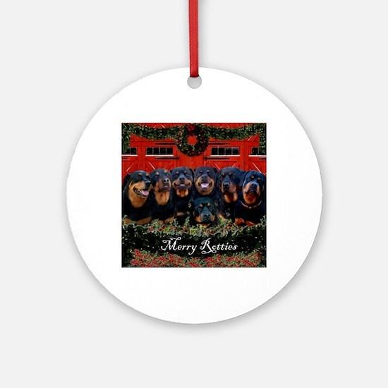 Merry Rotties Rottweiler Christmas Round Ornament