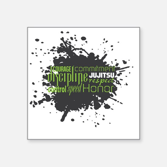 "Jujitsu Inspirational Splat Square Sticker 3"" x 3"""