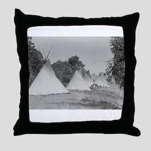Camp Life NDN History Throw Pillow
