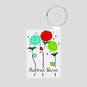 Retired Nurse Floral Aluminum Photo Keychain