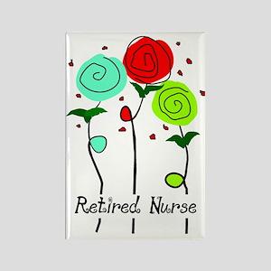 Retired Nurse Floral Rectangle Magnet