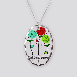 Retired Nurse Floral Necklace Oval Charm
