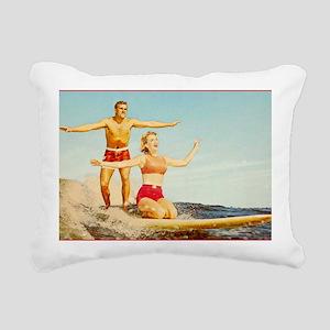 vintage surfers Rectangular Canvas Pillow