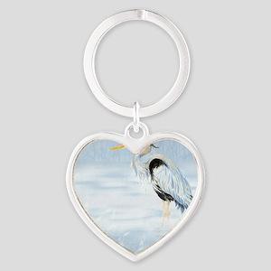 Watercolor Great Blue Heron Bird Heart Keychain