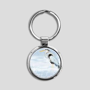 Watercolor Great Blue Heron Bird Round Keychain