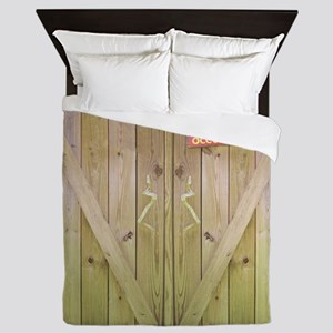Rustic Occupied Barn Door Queen Duvet
