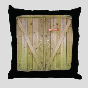 Rustic Occupied Barn Door Throw Pillow