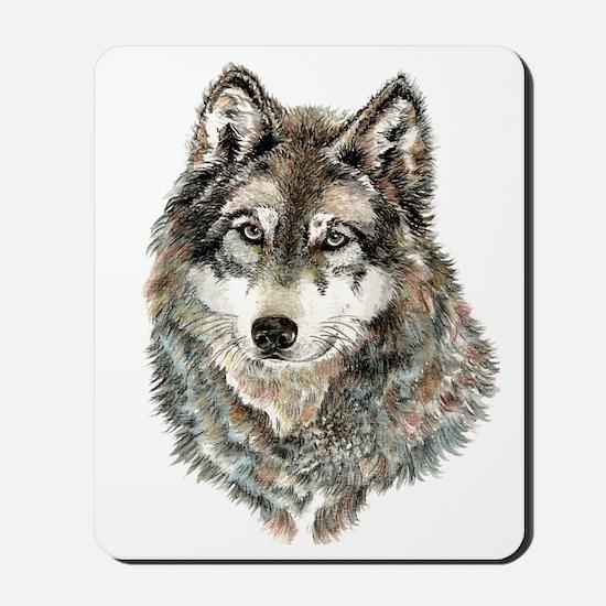 Watercolor Grey, Gray Wolf Animal Painti Mousepad