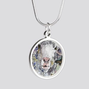 White Sheep Silver Round Necklace