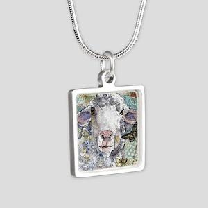 White Sheep Silver Square Necklace