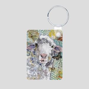 White Sheep Aluminum Photo Keychain