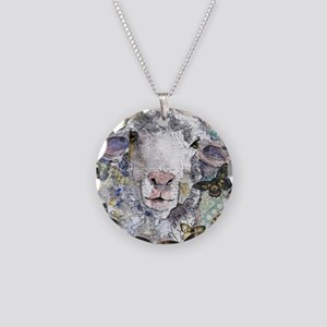 White Sheep Necklace Circle Charm