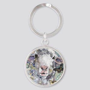 White Sheep Round Keychain