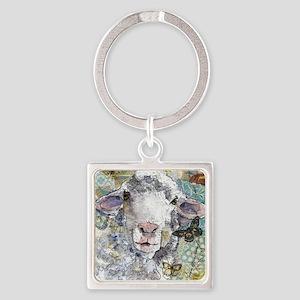 White Sheep Square Keychain